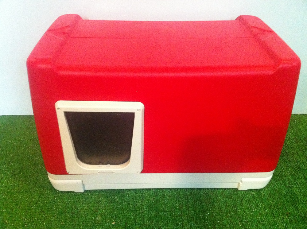 Cat House Made From A Cooler : Cat house outdoor heated insulated cedar